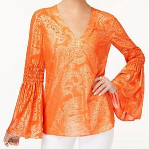 Michael Kors orange and gold tunic bell sleeves